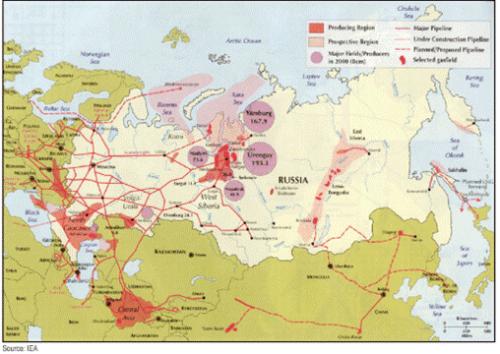 რუსეთის გაზის ძირითადი საბადოები