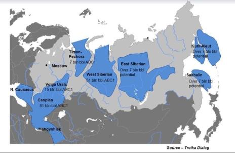 რუსეთის ნავთობის ძირითადი საბადოები